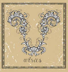 aries or ram zodiac sign on frame on texture vector image