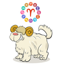 Aries zodiac sign with cartoon dog vector