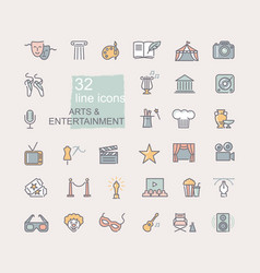 arts and entertainment icon set collection of vector image
