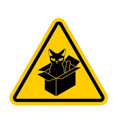 attention cat in box forbidden home pet in box vector image