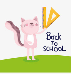back to school education cute cat with ruler vector image