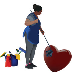 Black woman cleaning heart vector