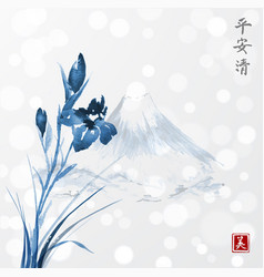 Blue iris flowers and fujiyama mountains hand vector