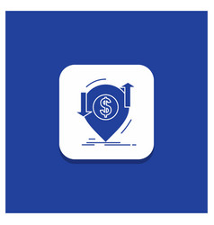 blue round button for transaction financial money vector image