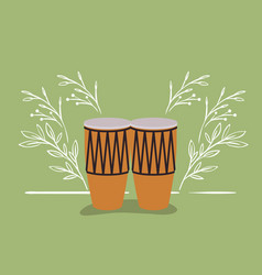 Bongos drums musical instrument icon vector