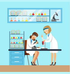 Chemists females testing chemical elements vector