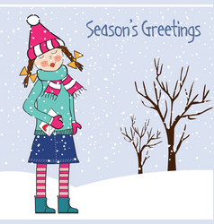 christmas card with young girl vector image