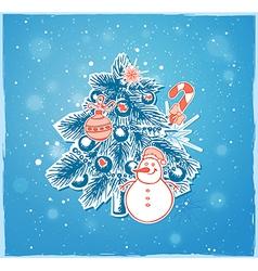 Christmas tree and snowman vector image