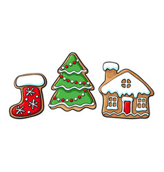 Christmas tree house boot gingerbread cookies vector