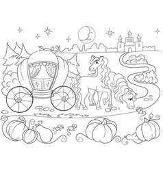 Cinderella fairy tale coloring book for children vector