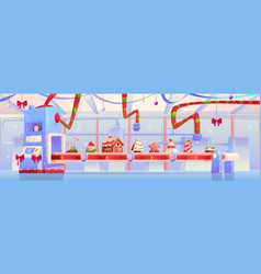 conveyor with christmas candy and sweets factory vector image