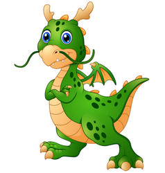 Cute cartoon green dragon posing vector