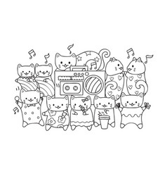 Cute cats listen and dance to music vector