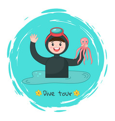 diver in diving mask holding octopus at background vector image