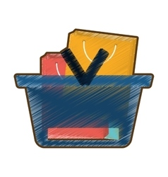 Drawing basket shopping many bag gift vector
