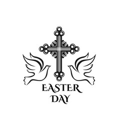Easter resurrection day cross and dove icon vector
