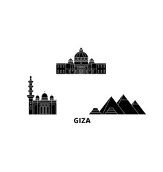 Egypt giza flat travel skyline set egypt giza vector