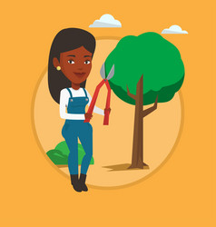 Farmer with pruner in garden vector