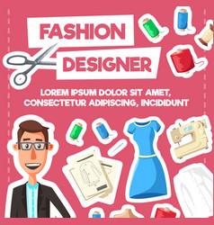fashion designer or tailor profession poster vector image