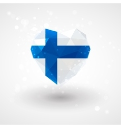 Finnish flag in shape diamond glass heart vector