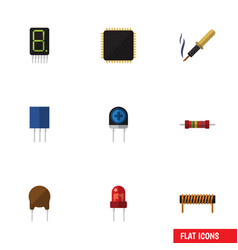 Flat icon electronics set of cpu repair vector