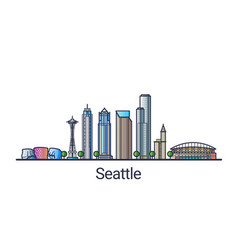 flat line seattle banner vector image