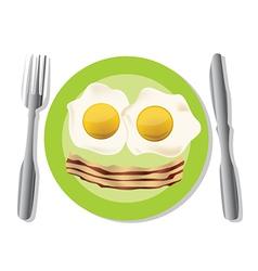 Fried egg plate vector image