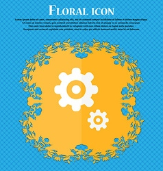 gears icon Floral flat design on a blue abstract vector image