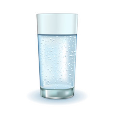 Glass of sparkling water vector