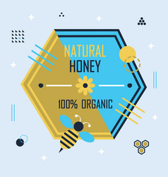 golden and blue hexagon honey bee emblem banner vector image