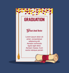 Graduation card with diploma icon vector