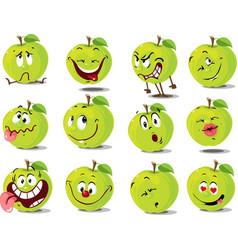Green apple emoticon flat design cartoon il vector