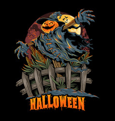 halloween pumpkin-headed scarecrow looks spooky vector image