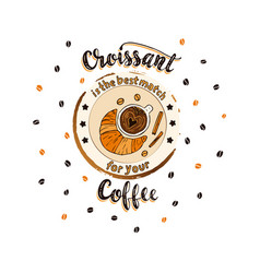 Handdrawn coffee lettering poster with imprint of vector
