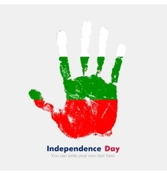 Handprint with the Flag of Bulgaria in grunge vector