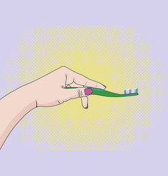hands of a woman squeezing toothpaste on a vector image