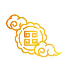 happy mid autumn festival cute mooncake clouds vector image