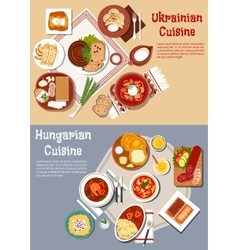 Hearty ukrainian and hungarian dinners flat icon vector image