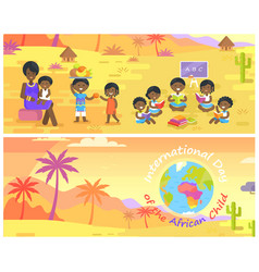 International day of african child banners set vector
