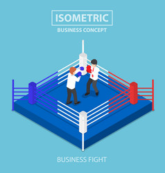 Isometric businessmen fighting on boxing ring vector