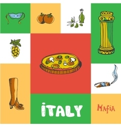 Italy Squared Doodle Concept vector image