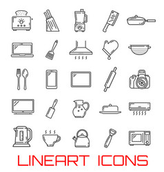 Kitchen utensil and home appliance icons vector