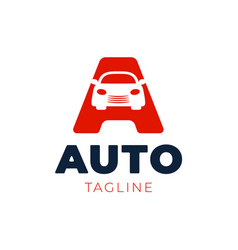 letter a logo with car in negative space speed vector image