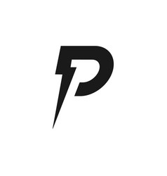 Letter p and lightning bolt logo design template vector