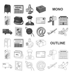 Mail and postman monochrom icons in set collection vector