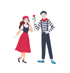 Male and female mimes isolated on white background vector