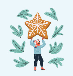 Man with gingerbread vector