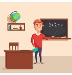 Mathematics teacher with pointer in blackboard vector image