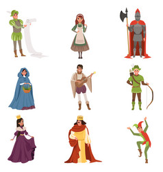 Medieval people characters of european middle ages vector
