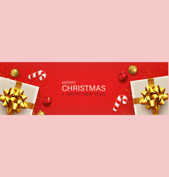 merry christmas and new year red background vector image